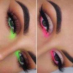 eyeliner neon make up - eyeliner neon Eye Makeup Designs, Eye Makeup Art, Makeup Eyeshadow, Neon Eyeshadow, Peach Eyeshadow, Glam Makeup, Makeup Inspo, Fancy Makeup, Pink Eye Makeup
