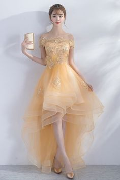 Cute champagne tulle high low prom dress, champagne homecoming dress, champagne formal dress