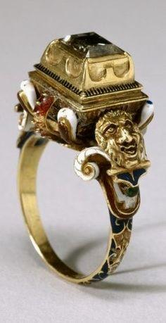 16th century gold, diamond and enamel ring