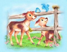 . Cute Little Animals, Baby Animals, Animal Pictures, Cute Pictures, Penny Parker, Decoupage, Cow Art, Animal Books, Baby Cartoon