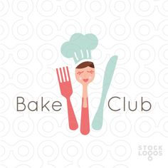 Logo Sold Cute bakery woman created in the form of a spoon. Restaurant Logo Design, Bakery Logo Design, Branding Design, Cute Bakery, Cupcake Logo, Drinks Logo, Make Your Own Logo, Bakery Business, Premium Logo