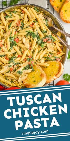 Tuscan Chicken Pasta is a delicious easy dinner that comes together in 30 minutes on the stovetop. Your family will love the rich flavors of this fast dinner. Chicken Skillet Recipes, Pasta Recipes, Crockpot Recipes, Cooking Recipes, Tuscan Chicken Pasta, Chicken Fettucine, Pasta Dishes, Food Dishes, Main Dishes