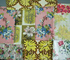 vintage 1950s floral cotton barkcloth fabric pieces x 9