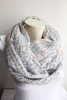Mathematics Scarf Mathematics Infinity Scarf White by dreamexpress