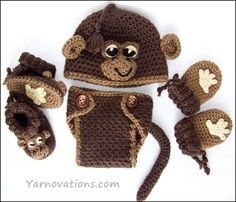 Crochet Baby Monkey Hat Pattern Set Now available electronically! This adorable baby monkey hat comes with coordinating mitts, booties and diaper cover! This is a big crowd pleaser. Crochet this fo. Crochet Baby Clothes, Crochet Baby Hats, Baby Knitting, Crochet Mustache, Free Crochet, Crochet Cup Cozy, Crochet Monkey, Baby Set, Crochet Crafts