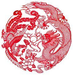 The dragon and phoenix together symbolize harmony and the happiness of marriage. The pattern of the dragon and phoenix also means auspiciousness and good luck.  The dragon represents the male (yang) and the phoenix represents the female (yin)