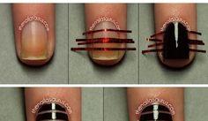 FL | Negative Space Striped Nails