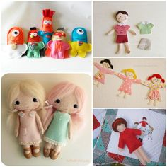Image Detail for - felt dolls for girls or boys clockwise from top left Felt Doll Patterns, Sewing Patterns, Sew Mama Sew, Doll Tutorial, Felt Dolls, Fabric Dolls, Softies, Felt Crafts, Sewing Tutorials