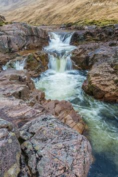 River Etive Waterfall in Glen Etive, Highland, Scotland Beautiful Waterfalls, Beautiful Landscapes, Places To Travel, Places To See, Beautiful World, Beautiful Places, England And Scotland, Natural Wonders, Amazing Nature