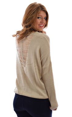 Others Follow Sweater in Taupe shopbelleboutique.com