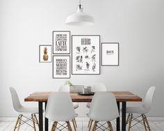 Inredning till kök. Tavlor till köket. Ljusgrå vägg till vit inredning. Kökstavlor.