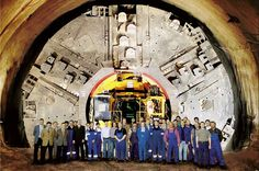 Tunnel boring machine (TBM) used for tunneling under many military installations (including Area 51) Average depth of these bases is over a mile- are like whole cities underground. Other types of TBMs are used by many government agencies, including the 'nuclear powered TBM' [NTBM] that melts solid rock and leaves behind glass-like walls. 7 miles a day can be drilled.