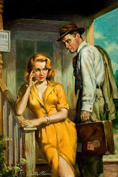 Romance Art, Vintage Romance, Pin Ups Vintage, Vintage Art, Poster Vintage, Vintage Comics, Arte Do Pulp Fiction, Arte Country, Arte Pop