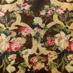 Gorgeous bold floral on a brown linen base cloth – perfect for curtaining, cushions and accessories.    Width: 140cm
