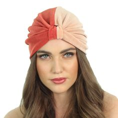 Slinky Color Block Coral Two Tone Full Turban Headband by ShopKP, $34.00