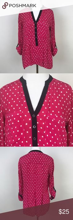 """[Anthropologie] Honore Pink Polka Dot Top Blouse 4 Flowy long sleeve top. Hot pink with white abstract dots and black trim. Button front with split neck. Sleeves can be rolled up with tab closure. By Vanessa Virginia from Anthropologie.  🔹Pit to Pit: 19"""" 🔹Length: 26"""" 🔹Condition: Excellent pre-owned condition.  *O21 Anthropologie Tops Blouses"""