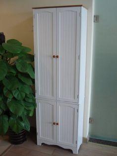 Homecharm-Intl Kitchen Pantry Cabinet,White with honey top Linen Storage Cabinet, Garage Storage Cabinets, Bathroom Storage, Utility Cabinets, Storage Shelves, Kitchen Storage, Storage Ideas, Shelving, Interiors