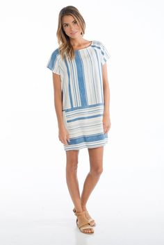 Right Stripe Blue Dress