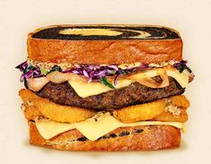 The Milwaukee:  Wisconsin Brick Cheeseburger Recipe.  Other ingredients:  beer-battered onion rings, red cabbage slaw, marbled rye bread, beef patty, Cream City pale ale mustard, and beer-braised onions.  -  Wisconsin Milk Marketing Board