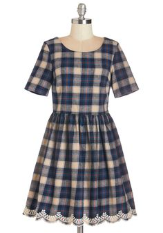 In the Audience Dress. Sitting in the front row in this plaid A-line dress by Yumi, you eagerly anticipate the QA portion of tonights lecture!  #modcloth