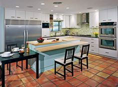 So, here is an example of a contemporary kitchen with saltillo tile...(note the use of turquoise)...it looks pretty good...maybe it will blend better than I thought?