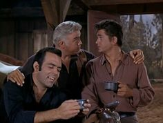Adam and Little Joe are astounded that Pa isn't the least bit vexed that Hoss didn't come home the night before. From Any Friend of Walter's (Bonanza)