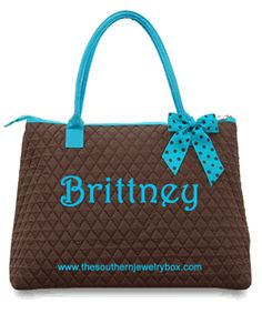 PERSONALIZED QUILTED BAGS, TOTES AND LUGGAGE SETS - Brown and Turquoise - CLICK TO SEE SELECTION