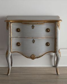 "perhaps this treatment on the bureau I am painting w/ a lime undercoat. (""Francois"" Two-Drawer Chest at Horchow.)"