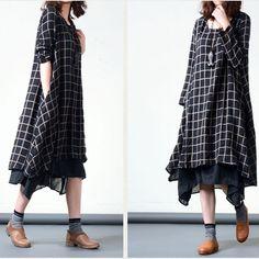 BUYKUD-Plaid long-sleeved cotton dress -Buykud