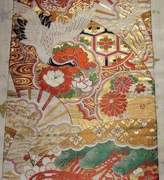 Vintage Japanese Kimono Wedding Obi Fabric Ornamental Flower Fan Crane Geometric