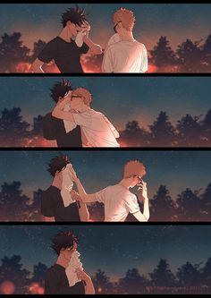 This is awesome bc the reactions are spot on! /// Haikyuu Tuskishima x Kuro Karasuno Nekoma Haikyuu Tsukishima, Kuroo Tetsurou, Haikyuu Fanart, Haikyuu Ships, Haikyuu Anime, Kagehina, Anime Amor, Manga Anime, Anime Love
