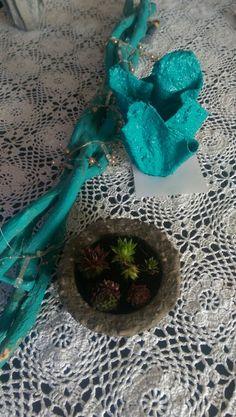 Beton Blumentopf und Kerzenständer aus Stoff-Beton