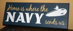 """SIX Duty Stations XTRA sHiP Any Branch """"Home is Where the Navy, Air Force, Army, Coast Guard, Marine Corps sends us"""" Military sign. $61.00, via Etsy."""
