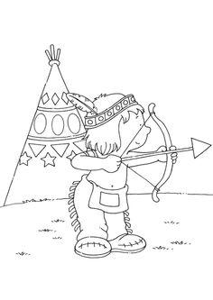 Dessin à colorier de Petit-Oiseau –Souriant, le brave petit indien jouant au tir à l'arc