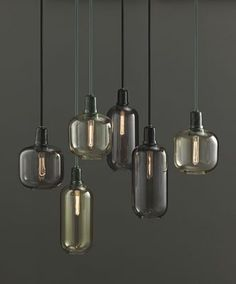 Normann Copenhagen – Amp Lampe – Gold/Grün – S Glass Pendant Light, Glass Pendants, Pendant Lighting, Pendant Lamps, Glass Lamps, Industrial Lighting, Industrial Stairs, Industrial Closet, Industrial Cafe