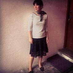 Coffee Break: Coffee Break Black Skirt Inspiration with stripes neckerchief and loafers