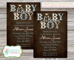 Digital, printable, boys baby shower invitation in vintage brown, tan, and blues with stripes, polka dots, stars, checkered, and argyle