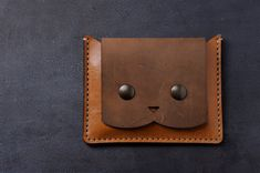Cat wallet. Italian leather wallet coin purse for women with cat. Genuine leather, hand stitched. Made in Italy.