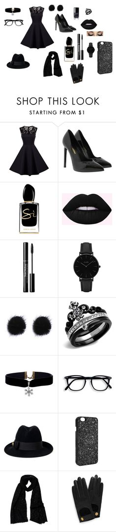 """Black"" by shannoncleghorn ❤ liked on Polyvore featuring Yves Saint Laurent, Giorgio Armani, CLUSE, Gucci, Victoria's Secret, Tilo and Mulberry"