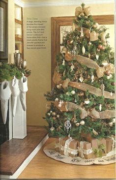 Lovely Christmas Tree, Brown paper presents and Skirt!