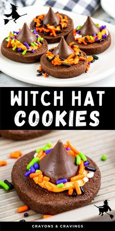 Witch Hat Cookies are a tasty and creative Halloween party treat made with homemade chocolate cookies, buttercream frosting, and Hershey Kisses. Easy Halloween Snacks, Halloween Party Treats, Halloween Desserts, Halloween Cookies, Halloween Fun, Halloween Decorations, Chocolate Sugar Cookie Recipe, Sugar Cookies Recipe, Homemade Chocolate