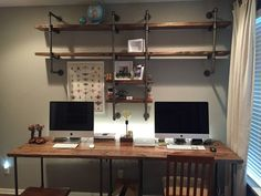 Custom desk & shelves made from wood & pipe - Imgur