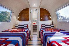 Restored Airstream • Memory Foam bedroom mattresses • Peacock Alley Bed Linens and Shams • Authentic Pendelton blankets Pendelton Blankets, Portable Carport, Linen Bedding, Bed Linens, Airstream Remodel, Trailer Interior, Camper Van, Motorhome, Rv