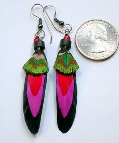 Night Tripper Feather Earrings- Ready to Ship by wildspirits on Etsy https://www.etsy.com/listing/230999129/night-tripper-feather-earrings-ready-to