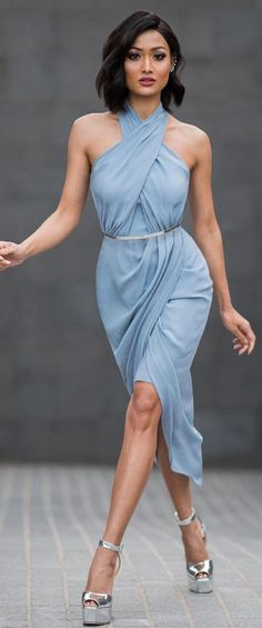 #street #style #womens #fashion #spring #outfitideas | Baby blue criss cross neckline midi dress