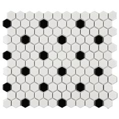 Bathroom Flooring Found it at Wayfair - Retro Porcelain Hexagon Mosaic Tile Sheet in White & Black (Set of 10)