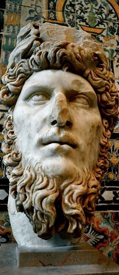 Ancient Roman bust of emperor Lucius Verus, from Dougga, in the Bardo National Museum