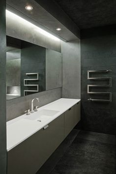 Elegant grey tones, bathroom inside an apartment Moscow by Ai Studio _