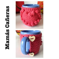 Funda para taza a crochet. Cover for cup Tapestry, Mugs, My Love, Cotton, Small Moments, Cover, Weaving, The Creation, Crocheting