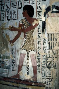 9. Ancient Egypt (c. 1410 BC): a priest wearing the skin of an animal, which was thought to imbue the wearer with the powers of the animal  sourced from ARTstor